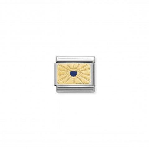 Link_Composable_Classic_Occhio_di_Dio_Simbolo_in_Oro_giallo_con_smalto_Blu.
