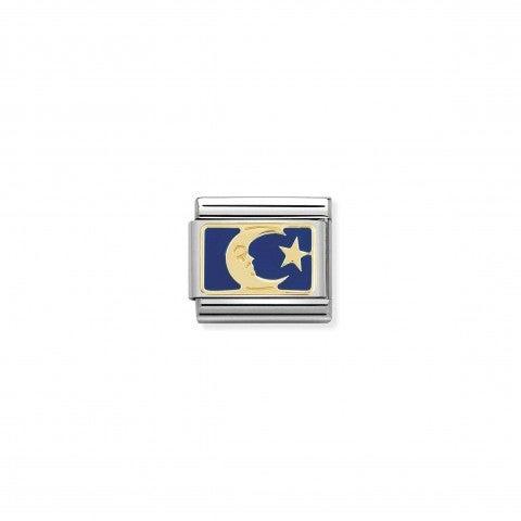 Link_Composable_Classic_Luna_sfondo_blu_Simbolo_in_Oro_con_smalto_colorato.