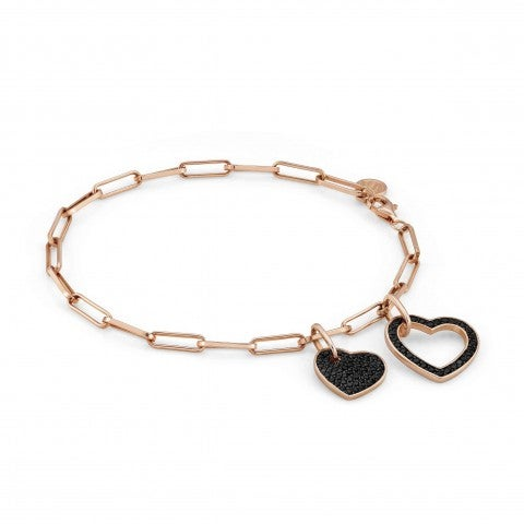 Emozioni_Bracelet_with_Hearts_Bracelet_with_double_black_Heart_pendants