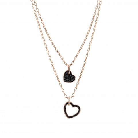Emozioni_Necklace_with_Double_Black_Hearts_Necklace_with_double_chain_and_pendants