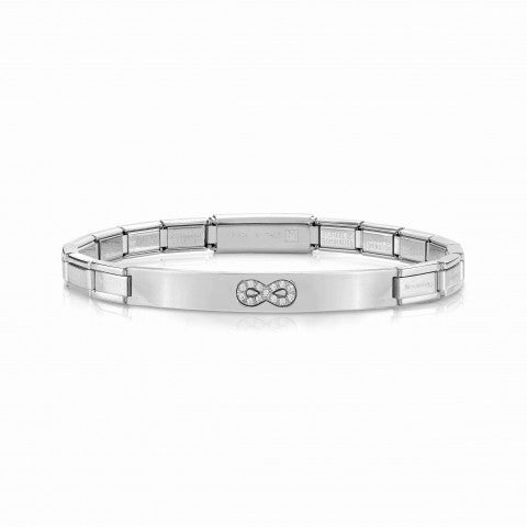 Trendsetter_Bracelet_Infinity_with_Cubic_Zirconia_Bracelet_with_plaque_and_symbol_in_stainless_steel