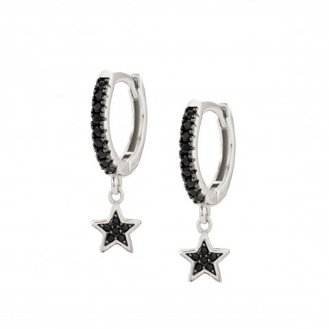 SweetRock_Earrings_with_Stars_Earrings_with_black_Cubic_Zirconia_and_pendants