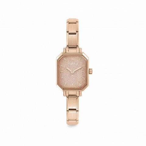 Composable_Watch_with_Pink_Glitter_Dial_Personalisable_watch_in_rose_gold_with_coloured_dial