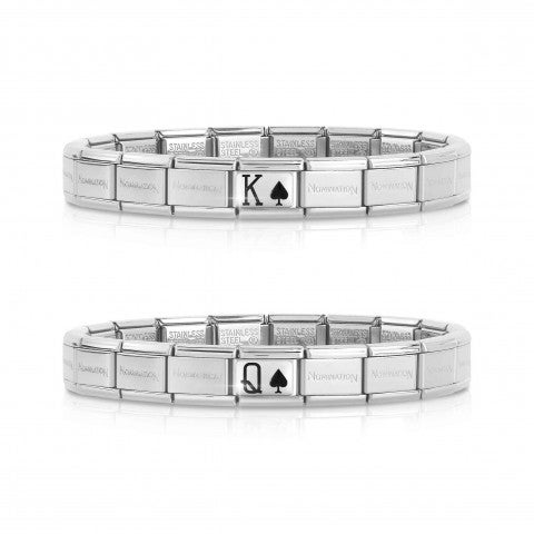 2_Bracelets_Composable_Classic_King_Queen_Spades_Pair_of_2_bracelets_with_symbols._#oneformeoneforyou