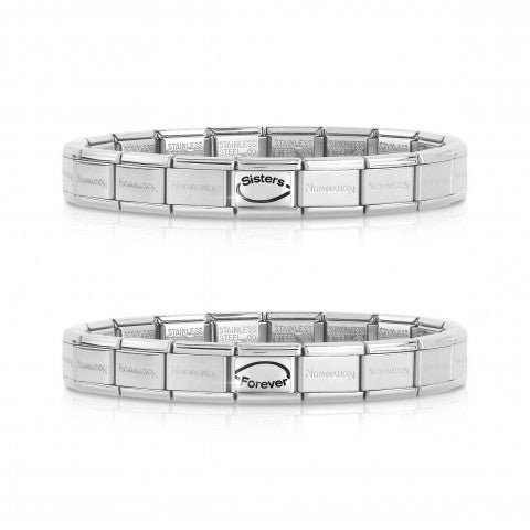 2_Bracelets_Composable_Classic_SISTERS_FOREVER_Pair_of_2_bracelets_with_writing_and_Infinity_symbol_Links_#oneformeoneforyou