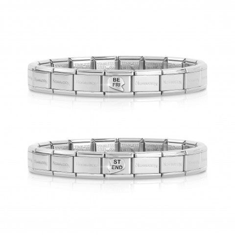 2_Bracelets_Pair_Composable_Classic_BEST_FRIEND_Pair_of_2_bracelets_with_heart_and_BEST_FRIEND_Links_#oneformeoneforyou