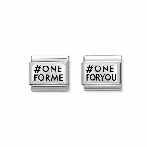 2_Link_Pair_Composable_Classic_ONEFORME_ONEFORYOU_Link_Pair_in_Sterling_silver_with_writing._#oneformeoneforyou