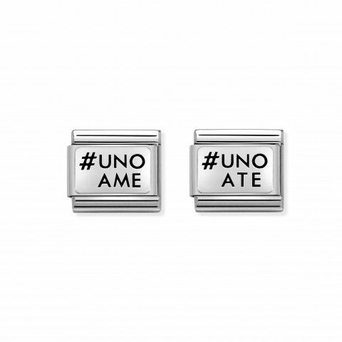 2_Link_Pair_Composable_Classic_UNOAME_UNOATE_Link_Pair_in_Silver_with_writing._#oneformeoneforyou