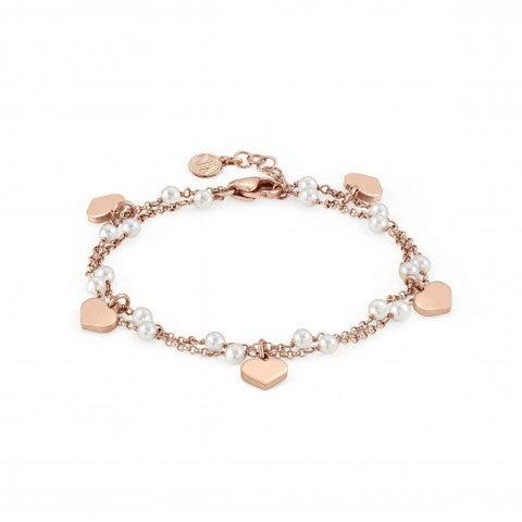 Armband_Mon_Amour_Herz_und_weiße_Steine_Armband_mit_doppeltem_Kettchen