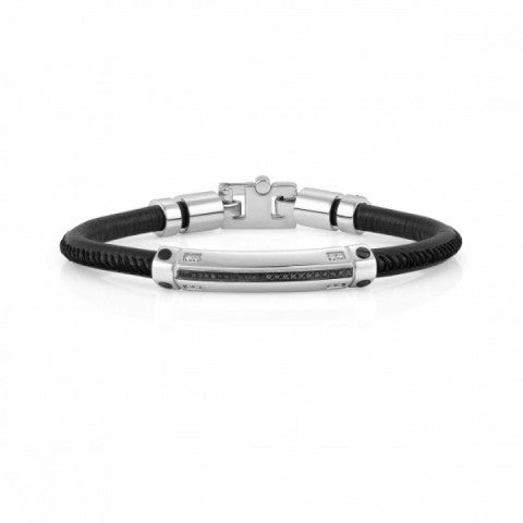 Gentleman_Leather_and_Stainless_Steel_Bracelet_Bracelet_in_stainless_steel,_leather_and_8_diamonds