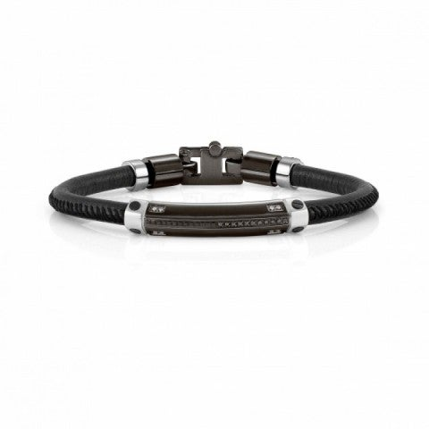 Bracelet_Gentleman_Cuir_et_Plaque_noire_Bracelet_en_Acier_avec_finition_noire