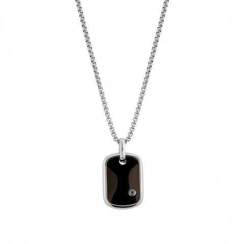 Gentleman_Necklace_with_Black_Diamond_Necklace_in_stainless_steel_and_diamond
