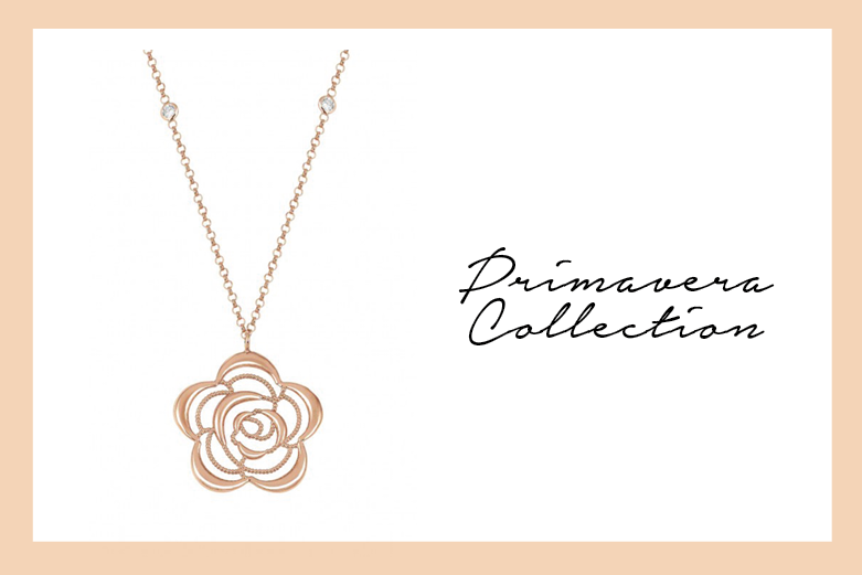 Primavera Necklace in rose gold with butterfly