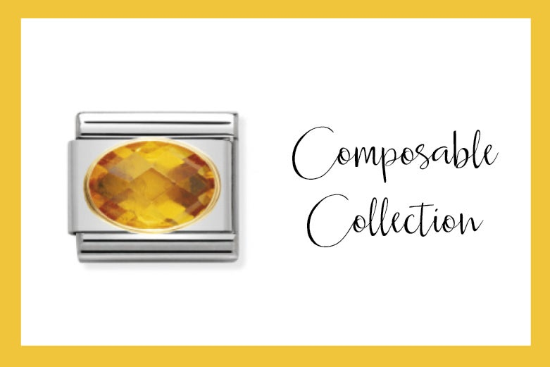 Composable Classic Link with Yellow faceted stones