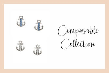 Stud earrings with anchor and zirconia