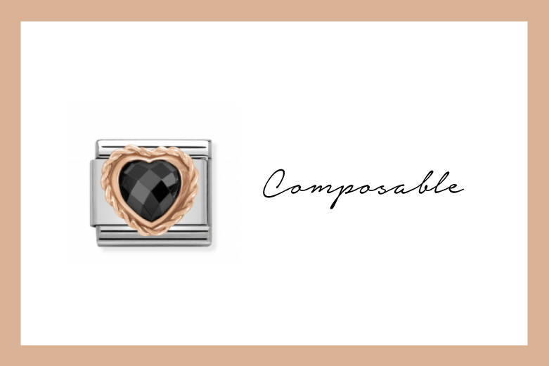 Composable Classic Link heart with black stone