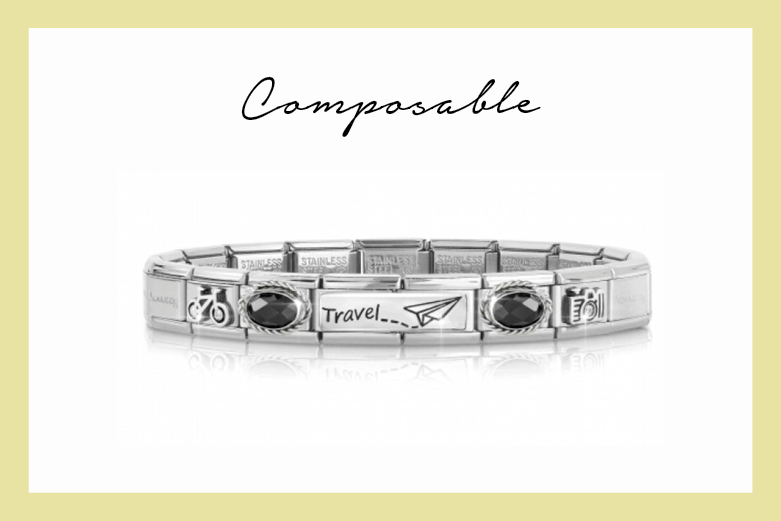 Composable Classic Travel Bracelet with Black Stones