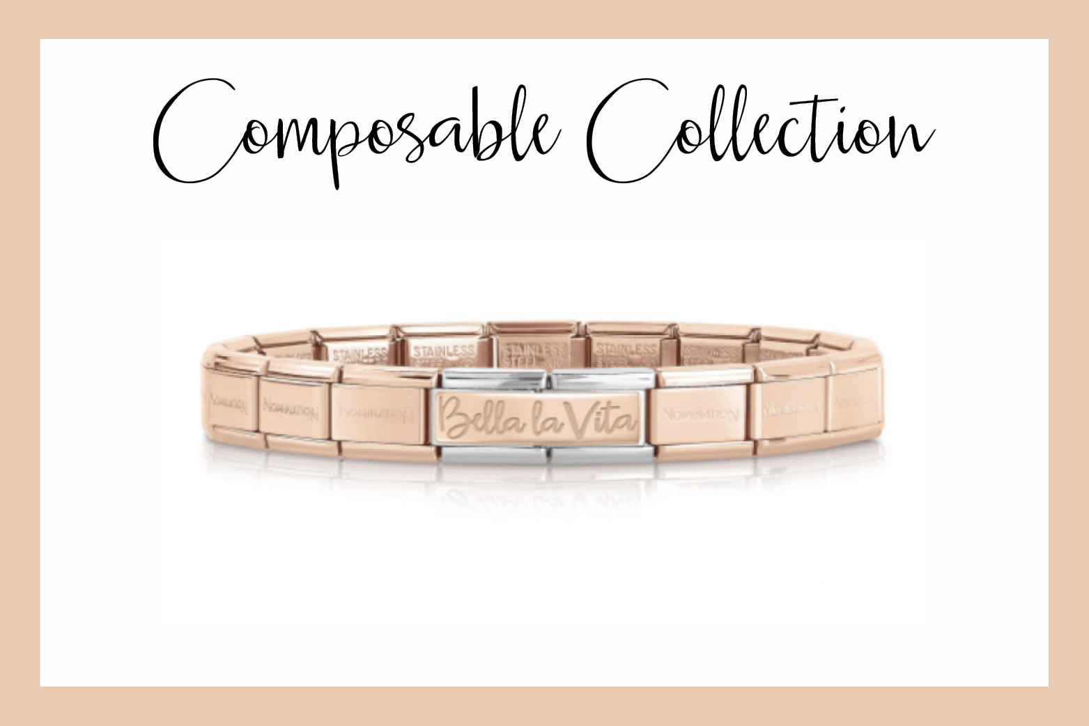 Composable Bracelet with Bella La Vita double Link in rose gold