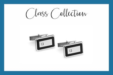 class cufflinks in  stainless steel and swarovski