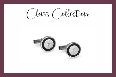 steel cufflinks with circle and swarovski