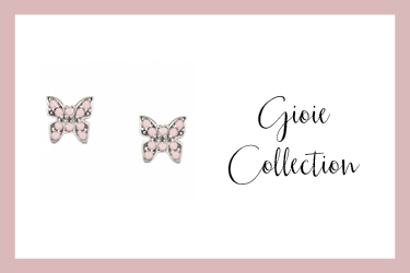 Stud earrings with butterfly and pink zirconia