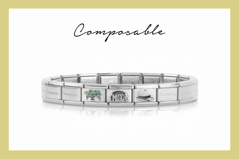 Composable bracelet with palm tree and hat