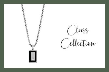 Class Necklace in stainless steel with rectangle