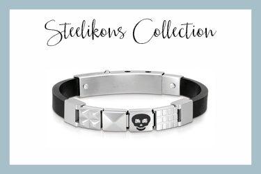 Rubber Steelikons Bracelet Black Skull