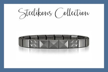 Composable Steelikons bracelet with black pyramids